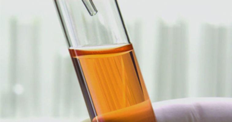 a beaker full of oil