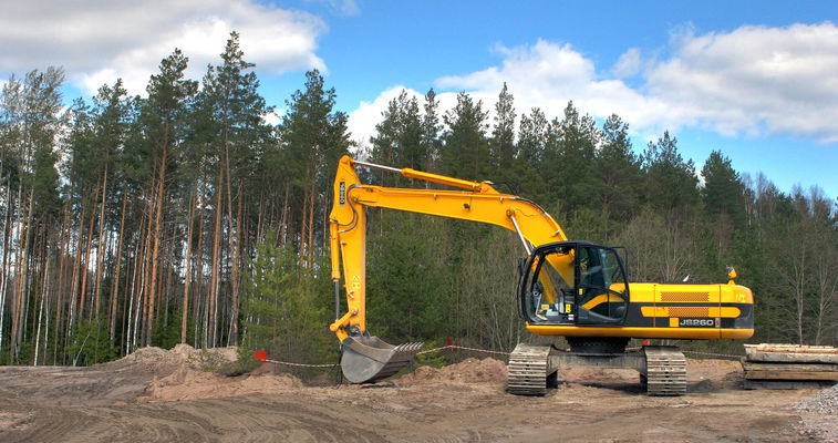 excavator at dig site