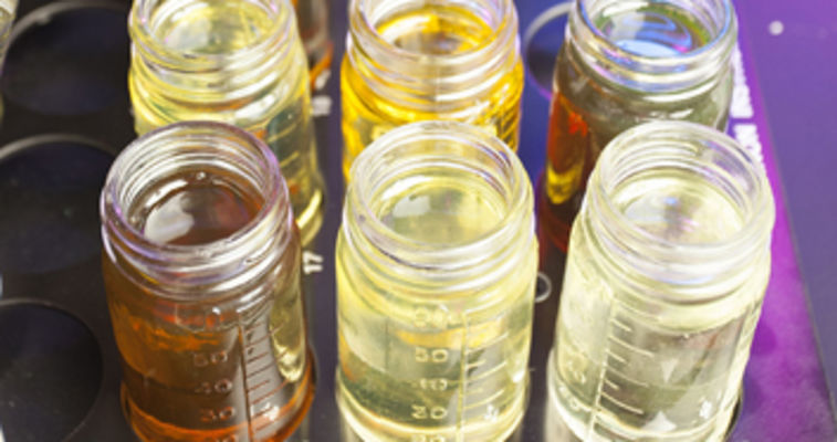 rows of oil samples in a lab