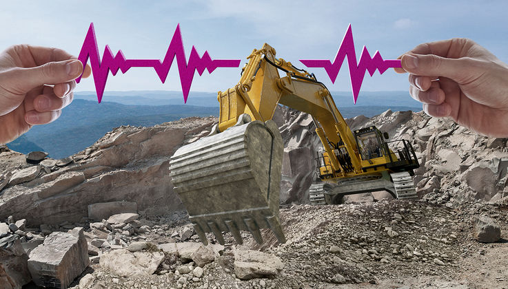Pulse line with excavator digging