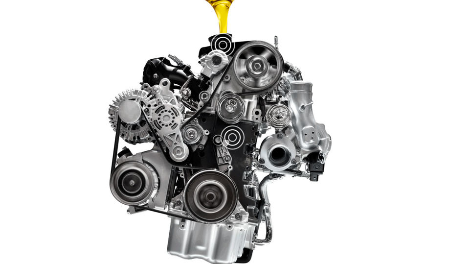 Cross-section view of automotive engine