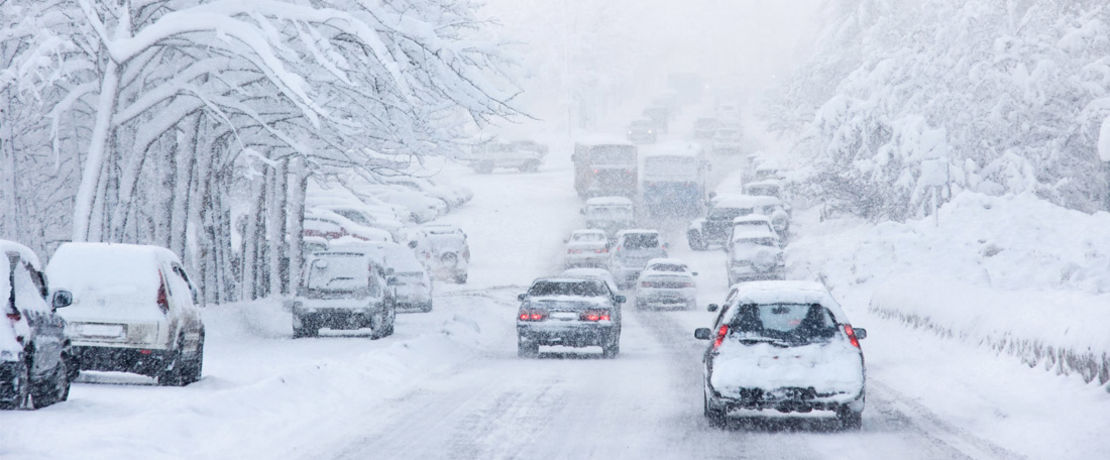 traffic of cars in snow