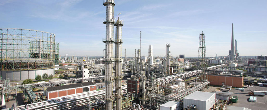 big oil refinery at day