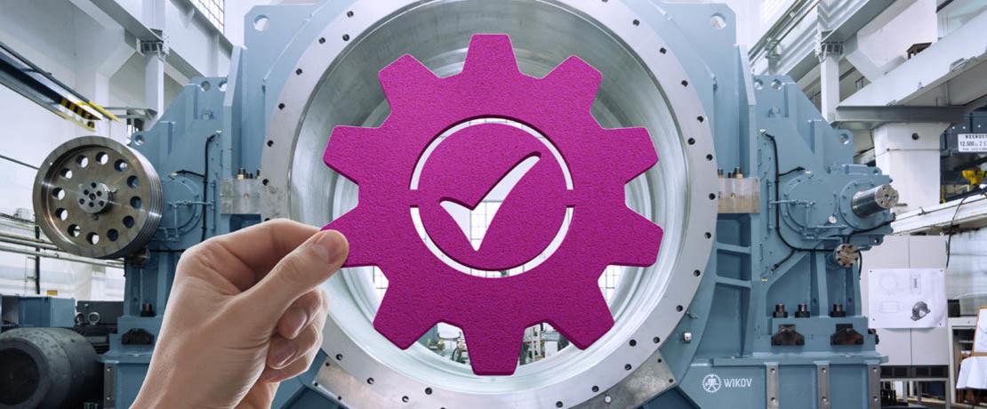 Industrial machine with a purple gear inside